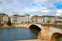 Pont de la Tournelle over Seine river of Paris Stock Photos