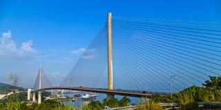 Pont de la ville long d'ha, ports de bateau de Halong Pier From Cai Lan International, Vietnam image libre de droits