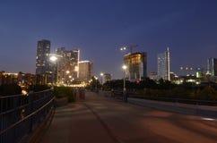 Pont de Lamar dans Austin du centre au crépuscule Photos libres de droits