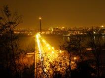Pont de liberté dans la ville de Novi Sad, Serbie la nuit photo libre de droits