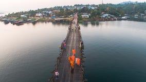 Pont de lundi, Sangkhlaburi, Kanchanaburi, Thaïlande, Asie Images libres de droits