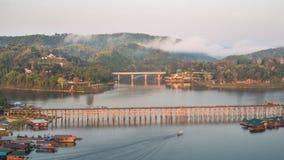 Pont de lundi, Sangkhlaburi, Kanchanaburi, Thaïlande, Asie Photographie stock libre de droits