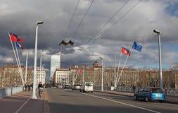 Pont de Lyon, Lafayette au-dessus de la rivière le Rhône Images stock