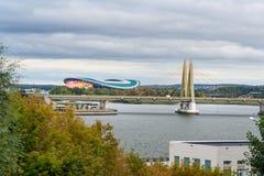 Pont de millénaire et stade d'arène de Kazan kazan Russie Image libre de droits
