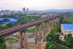 Pont de Nanjing le fleuve Yangtze, Chine photo libre de droits