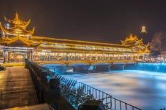 Pont de Nanqiao la nuit Image libre de droits