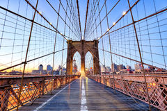 Pont de New York, Brooklyn au nigth, Etats-Unis images libres de droits