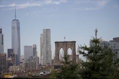 Pont de New York - de Brooklyn avec le fond de Manhattan Photo libre de droits