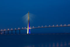 Pont de Normandie. Famous Pont de Normandie spans across river Seine near Le Havre, Normandy Royalty Free Stock Images