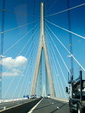 Pont de Normandie Bridge. The Pont de Normandie cable-stayed road bridge that spans the river Seine linking Le Havre to Honfleur in Normandy, northern France Royalty Free Stock Image