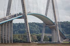 Pont de Normandie, bridge over river Seine in France Stock Photos