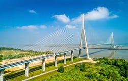 Pont de Normandie, eine Stra?enbr?cke ?ber der Seine, die Le Havre mit Honfleur in Normandie, Frankreich verbindet lizenzfreie stockfotos
