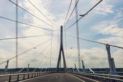 Pont de Normandie en Le Havre Imagenes de archivo