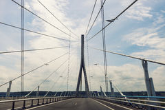 Pont de Normandie in Le Havre. Le Havre, Normandy, France Stock Images
