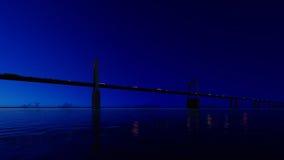 Pont de nuit sur le ciel clair 3d rendent Photographie stock libre de droits