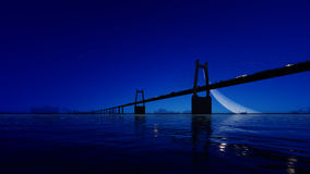 Pont de nuit sur le ciel clair 3d rendent Photographie stock