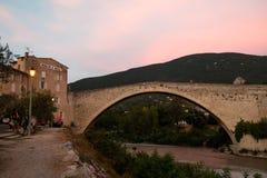 Pont de Nyons at sunset. Provence, France. stock photos