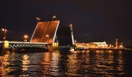 Pont de palais dans la nuit St Petersburg Image libre de droits