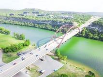 Pont de Pennybacker de vue aérienne ou 360 pont dans Austin, le Texas, U Photos stock