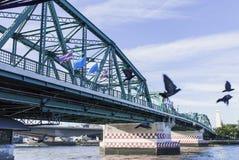 Pont de Phra Phuttha Yodfa, pont commémoratif en Thaïlande photographie stock