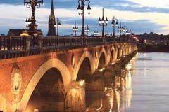 Pont de Pierre γέφυρα, Μπορντώ, Γαλλία Στοκ Φωτογραφίες