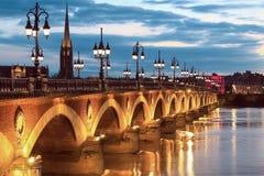 Pont de Pierre γέφυρα, Μπορντώ, Γαλλία Στοκ εικόνα με δικαίωμα ελεύθερης χρήσης