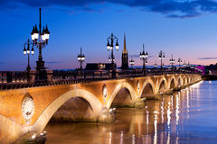The Pont de pierre in Bordeaux Royalty Free Stock Images