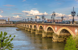 Pont de pierre in Bordeaux. Aquitaine, France Royalty Free Stock Photography