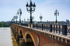Pont de Pierre in Bordeaux, France Stock Photo