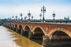 Pont de Pierre in Bordeaux, Francia Fotografie Stock Libere da Diritti