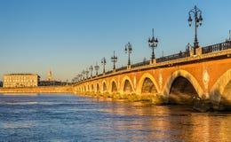 Pont de pierre, an old bridge in Bordeaux, France royalty free stock images