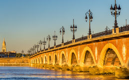 Pont de pierre, an old bridge in Bordeaux, France royalty free stock photography