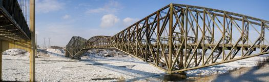 Pont de Quebec. A panorama of the Pont de Quebec in winter Stock Photo