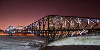 Pont de Quebec. A panorama of the Pont de Quebec at night in winter Stock Images