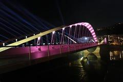 Pont de Schuman sur la Saône Image stock