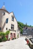 Pont de Terrade und der Glockenturm, Aubusson, Creuse, Frankreich, im Juni 2015 Lizenzfreie Stockfotos