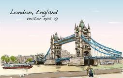 Pont de tour de croquis de dessin de paysage urbain, Londres, Angleterre Image libre de droits