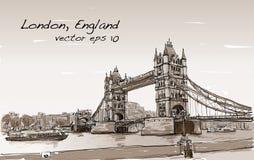 Pont de tour de croquis de dessin de paysage urbain, Londres, Angleterre dans la sépia illustration stock