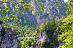 Pont de touristes de pied autour de château de Neuschwanstein dans les Alpes de la Bavière, Allemagne Images stock