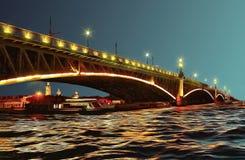 Pont de Troitsky au-dessus de Neva River une nuit blanche illustration libre de droits