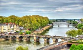 Pont DE Verdun, een brug over Maine in Angers, Frankrijk Royalty-vrije Stock Foto