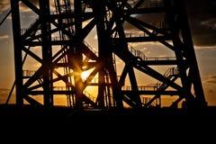 Pont de Zhivopisny passerelle Câble-restée Coucher du soleil Photo stock