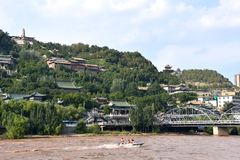 Pont de Zhongshan chez Lanzhou, Chine images stock