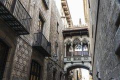 Pont del Bisbe主教桥梁在巴塞罗那,卡塔龙尼亚,西班牙 库存图片