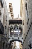 Pont del Bisbe主教桥梁在巴塞罗那,卡塔龙尼亚,西班牙 库存照片