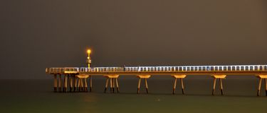 Pont del petroli. In badalona, barcelona, spain at night Stock Photos