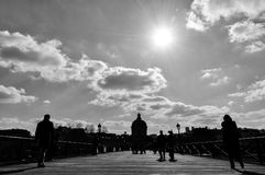Pont des Arts in black and white, Paris, France Royalty Free Stock Photography