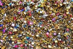 Pont des Arts bridge across La Seine river, crammed with lovers' padlocks Stock Photo