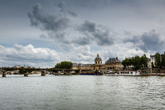 Pont des Arts Bridge and French Institute, Paris Royalty Free Stock Photography
