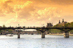 Pont des arts bridge in Paris center Royalty Free Stock Images